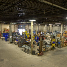 An aerial view of Matot's massive warehouse where its dumbwaiters and other material lift solutions are manufactured.