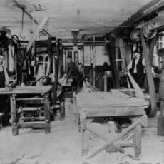 The original Matot dumbwaiter shop shown in black and white.