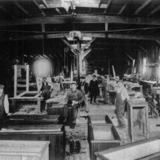 The original Matot shop, shown in black and white.