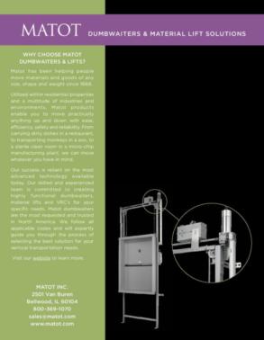 A close-up of Matot's dumbwaiter lifting technology.